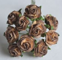 1.5cm CHOCOLATE BROWN Mulberry Paper Roses